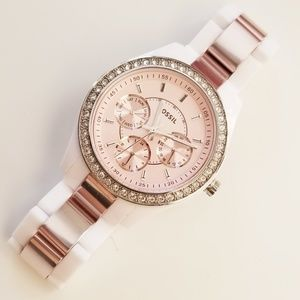 Fossil White Rose Gold Watch